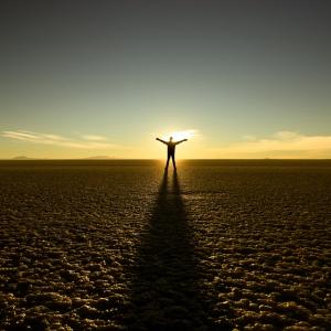 Man in rising sun
